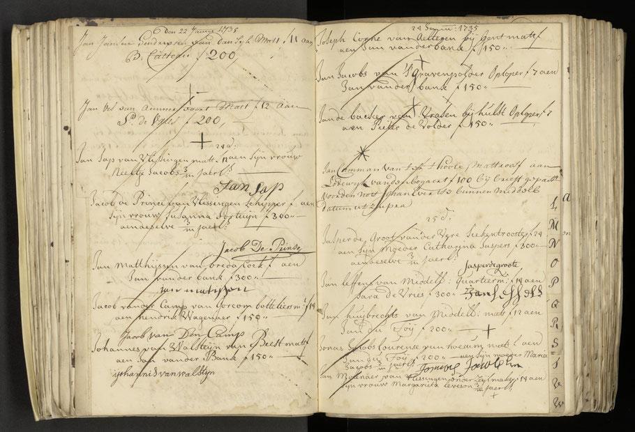 Het verzoekboek van de Anna Catharina met links bijna onderaan de naam van Jacob van den Camp uit Gorinchem.