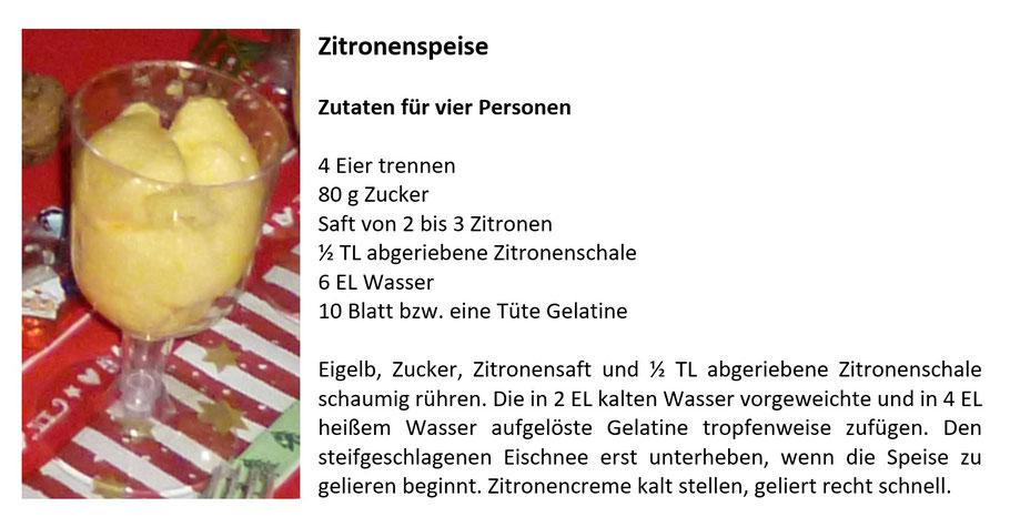 Zitronenspeise Rezept
