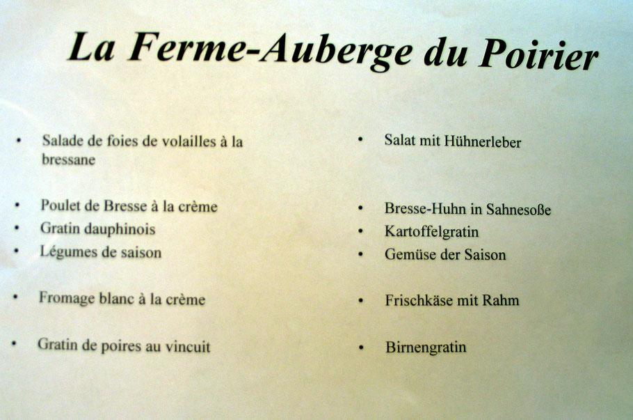 Bild: Speisekarte der Ferme-Auberge du Poirier