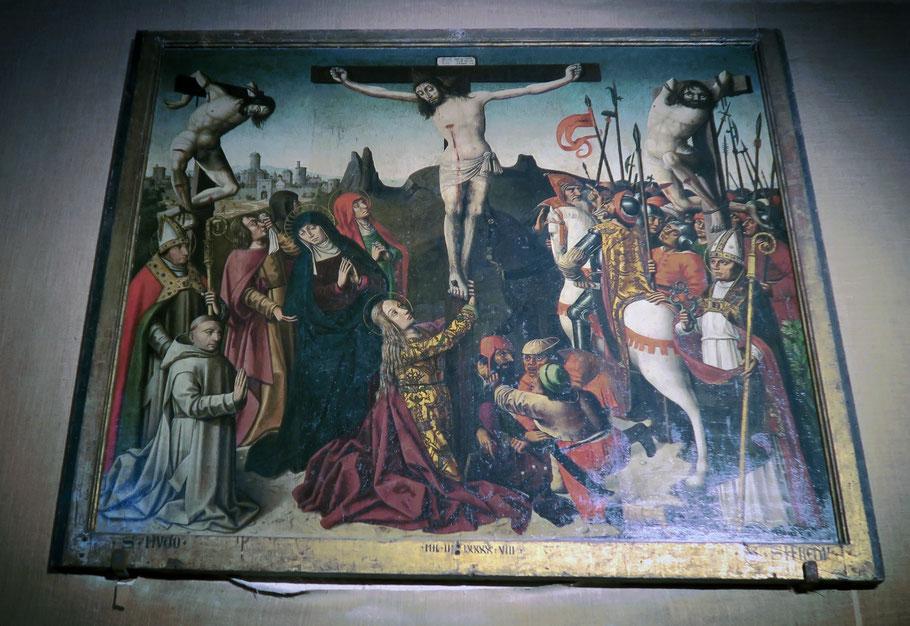 Bild: Kreuzigungsgemälde aus der Schule von Avignon von 1498 in der Kirche von Venasque, Vaucluse, Provence