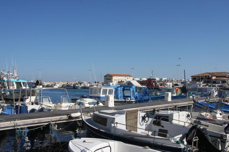 Bild: Fischereihafen in Carro an der Côte Bleue, Hintergrund Wohnmobilpark