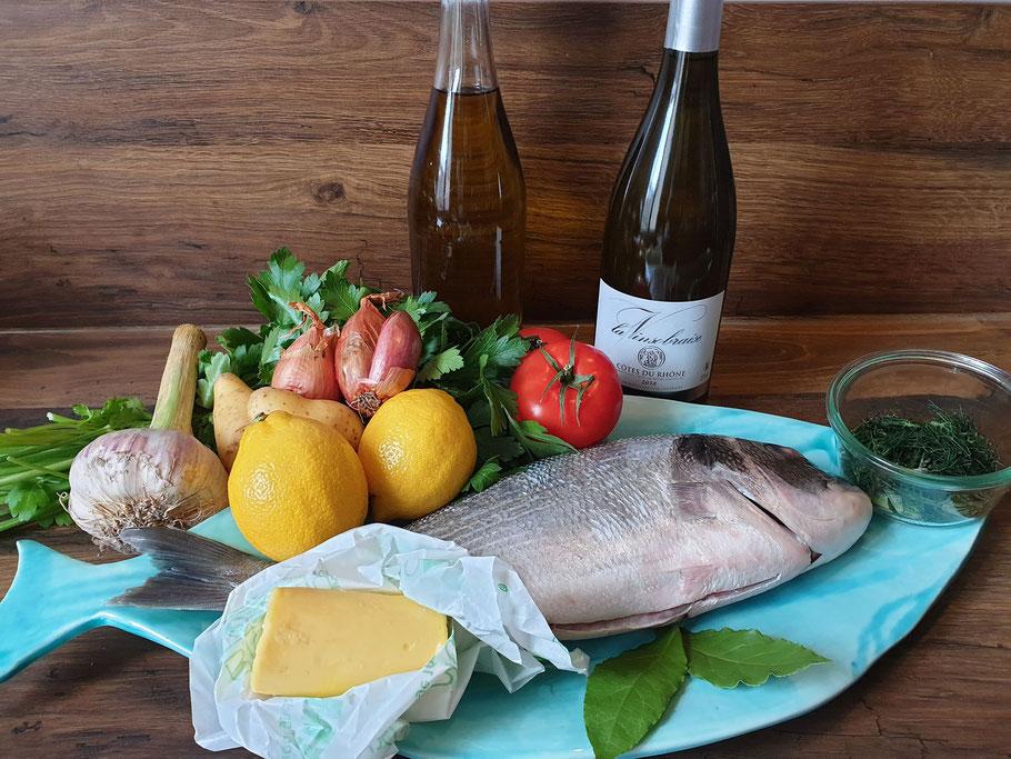 Bild: Zutaten für Dorade Royal au Vin blanc
