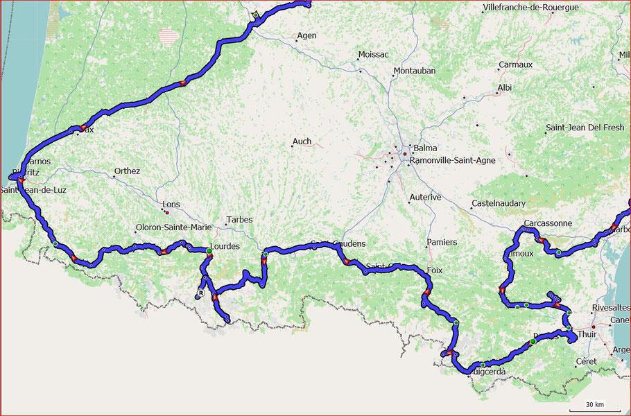 Tourenverlauf Narbonne bis Biarritz