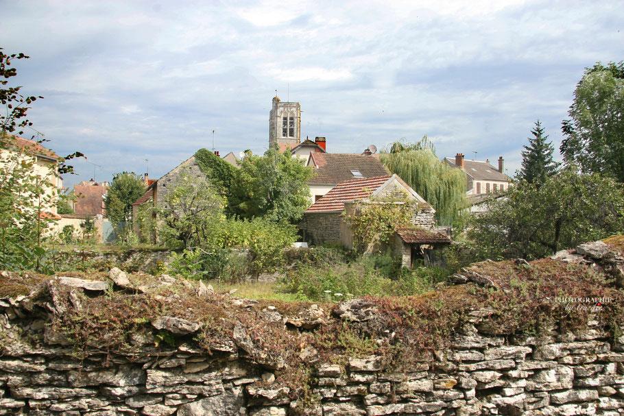Bild: Blick auf Noyers-sur-Serein mit dem Kirchturm von Eglise Notre Dame de l'Assomption de Noyers-sur-Serein