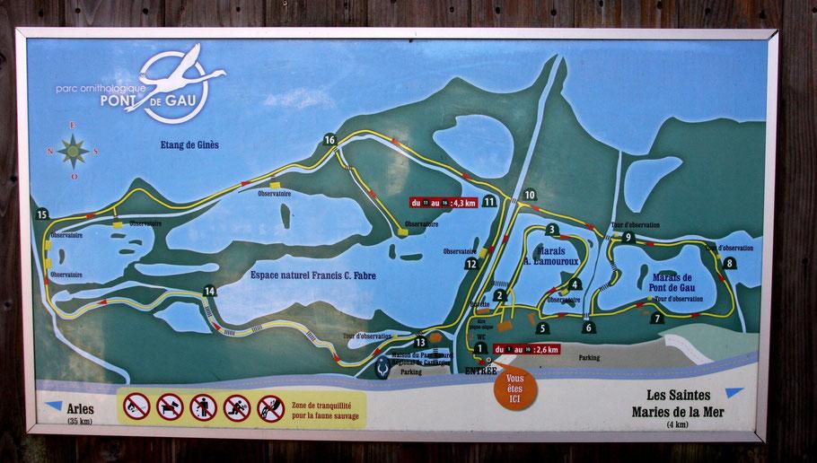 Bild: Plan des Parc ornithologique de Pont-de-Gau