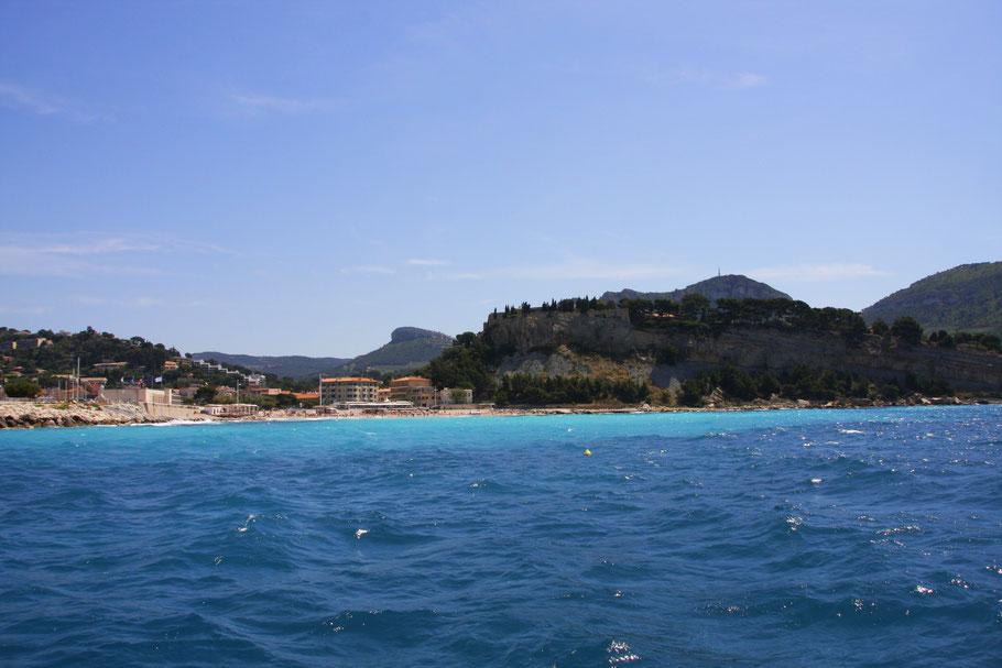 Bild: Blick auf Cassis vom Meer aus
