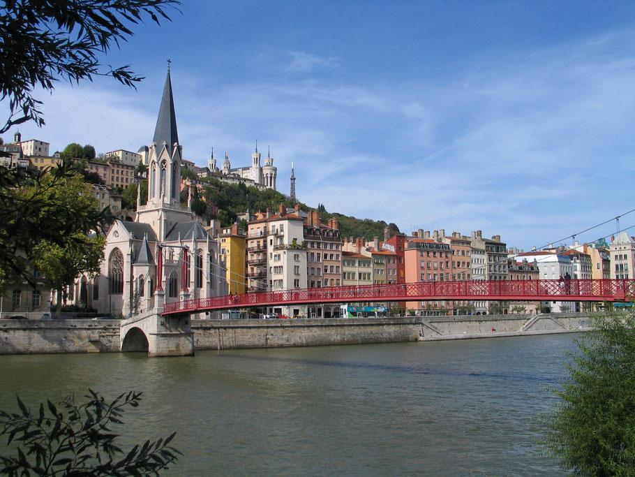 Bild: der Fluß Saône mit Blick auf Saint-Georges in Lyon