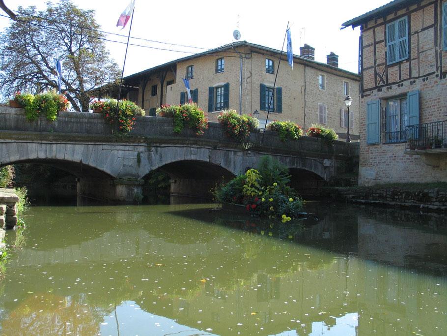 Bild: Brücke über den Fluß Chalaronne in Châtillon-sur-Chalaronne in den Dombes im Departement Ain