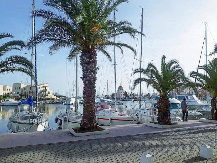 Bild: Im Hafen von Gruissan mit Capitainerie im Hintergrund
