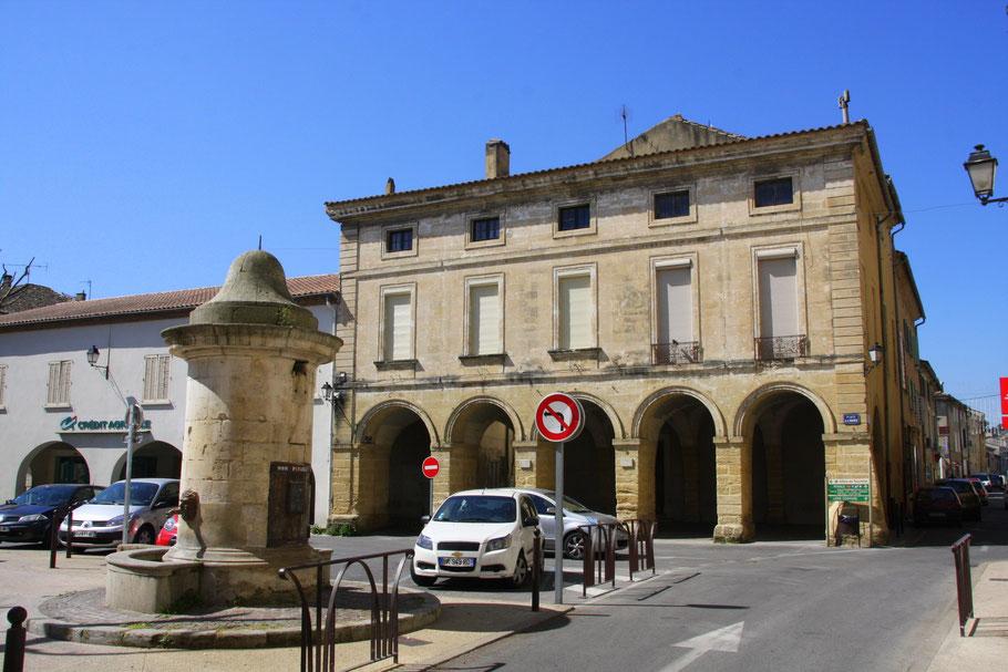Bild: Place de la Mairie mit Fontaine aus dem 16 Jahrhundert in Roquemaure