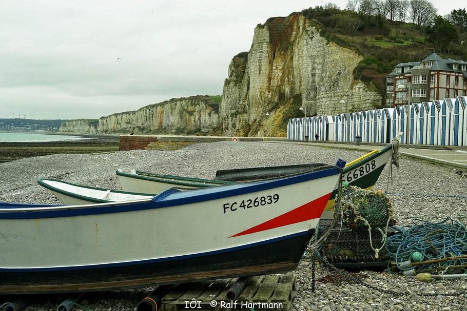 Bild: Blick nach Fécamp von Yport aus