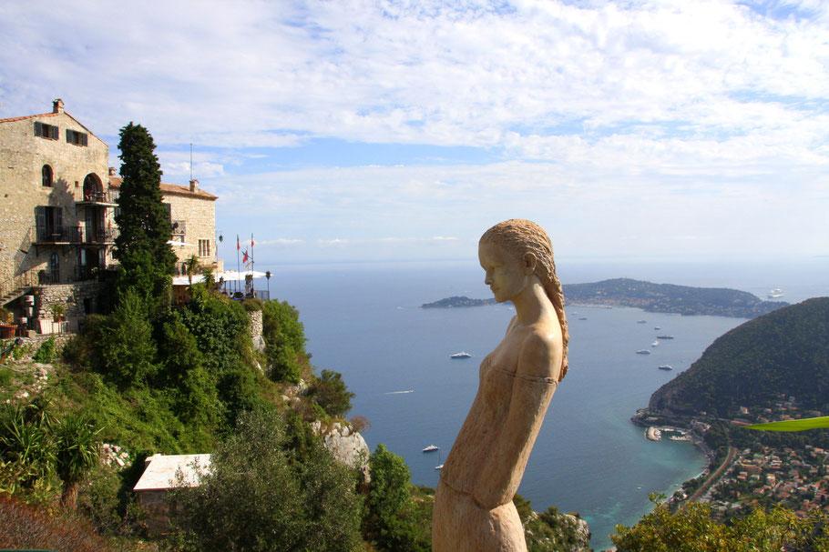 Bild: Bild: exotischer Garten in Èze, Jardin Exotique de Èze, Blick auf Cap Ferrat