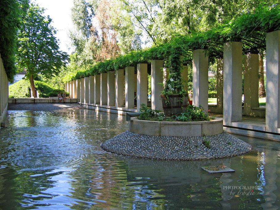 Bild: Topfpflanzen-Insel im Kanal im Yitzhak Rabin-Garten im Parc de Bercy, Paris