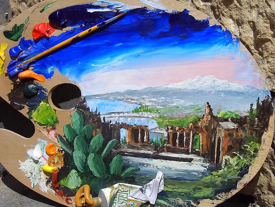 Paint and Wine в Таормине - пейте вино и рисуйте Этну, мастер-класс по рисованию и дегустация вин и продуктов в маленькой группе в Таормине