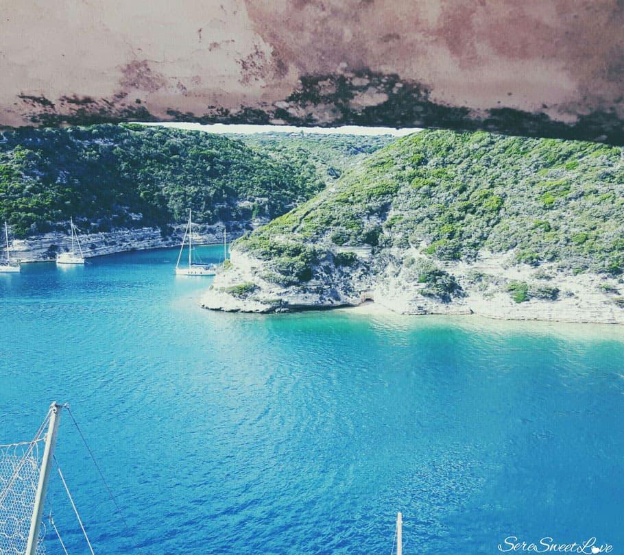 Vista insenatura Porto di Bonifacio, Corse, France