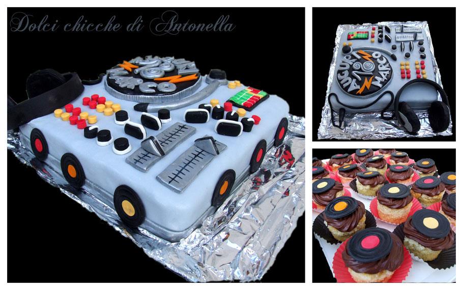 torta dee jay-consolle music- torte-dolci-la spezia-liguria-compleanno-feste a tema-biscotti