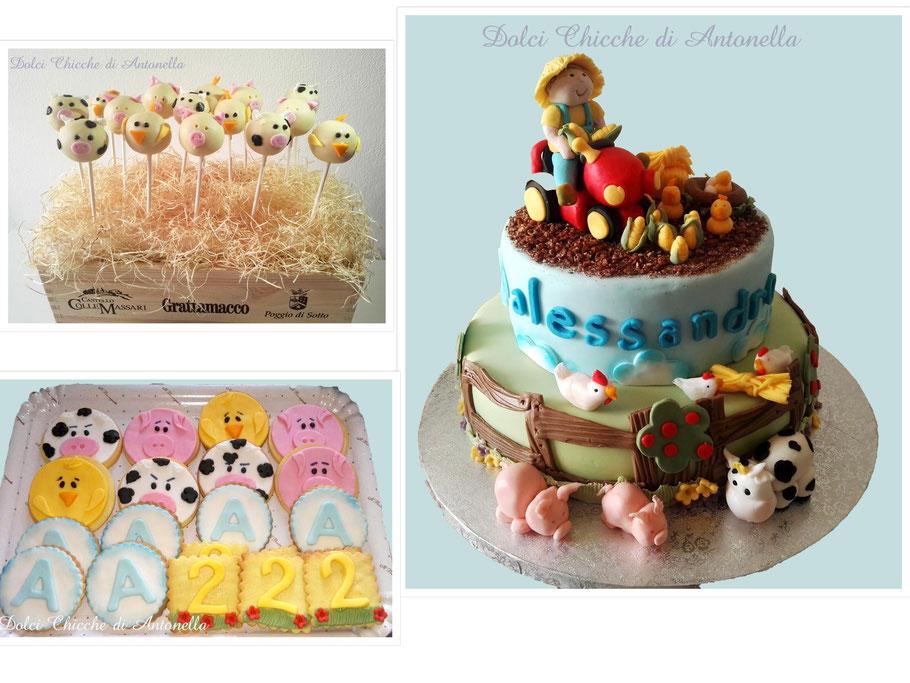 torta fattoria-trattore-animali-torte decorate-sweet table-eventi-compleanni-pasticceria-la spezia-liguria