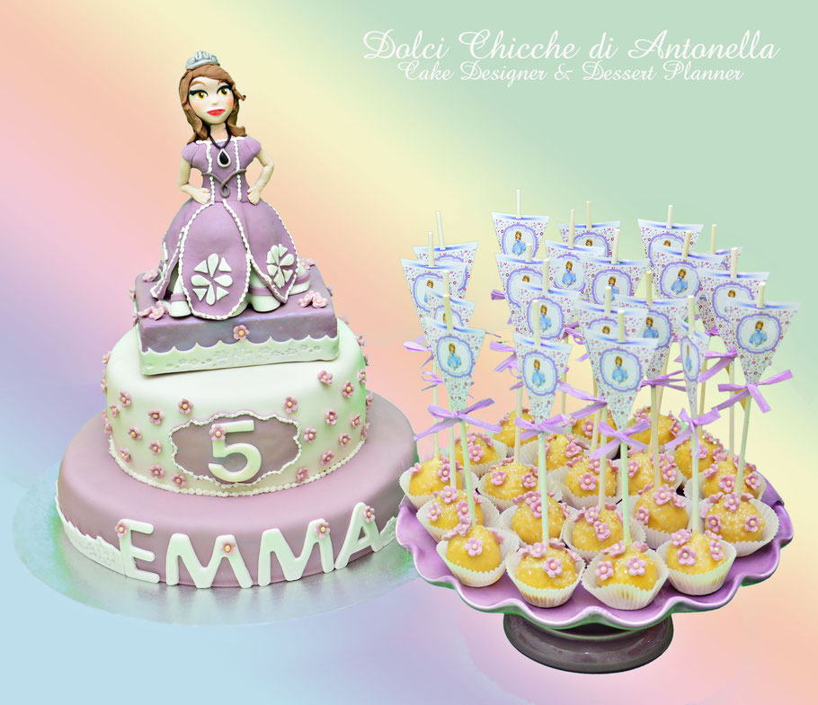 torta principessa sofia-dolci-la spezia- liguria-feste-eventi-torta compleanno-cake pops-bimbi