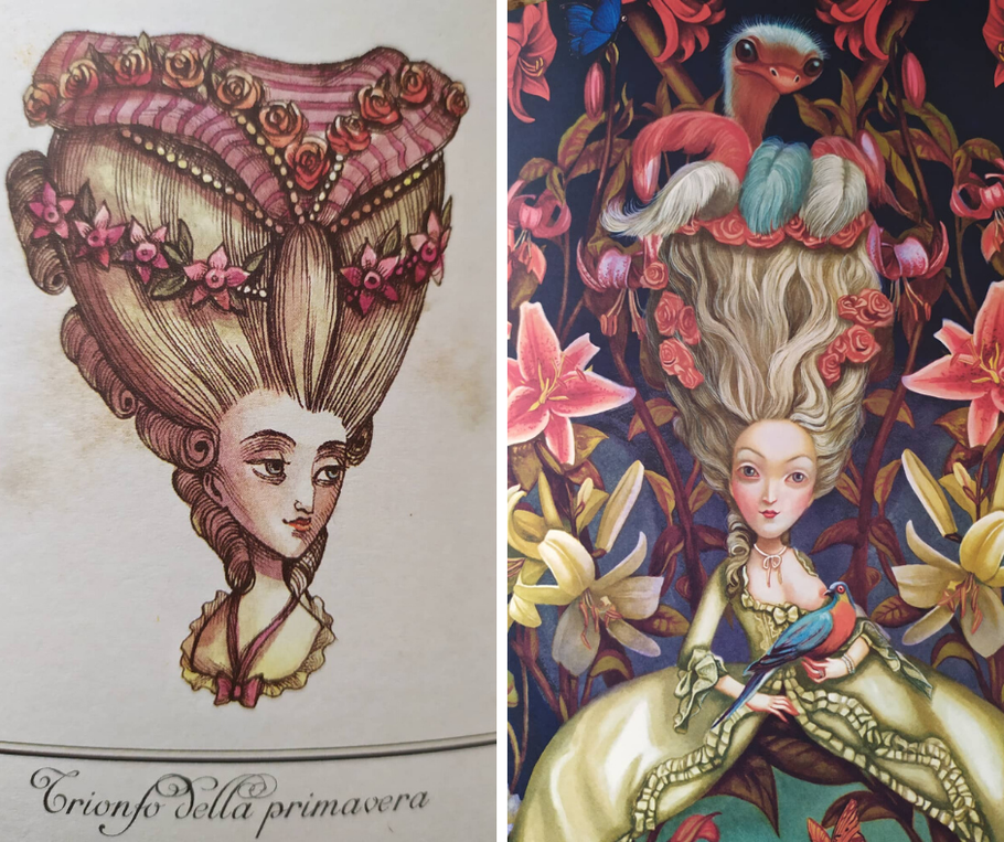 Photos taken by me to the beautiful book about Marie Antoinette by Benjamin Lacombe that I have the honor of owning