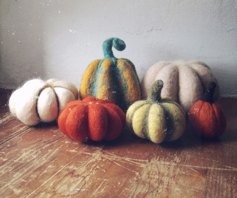 Needle felted pumpkins work in progress