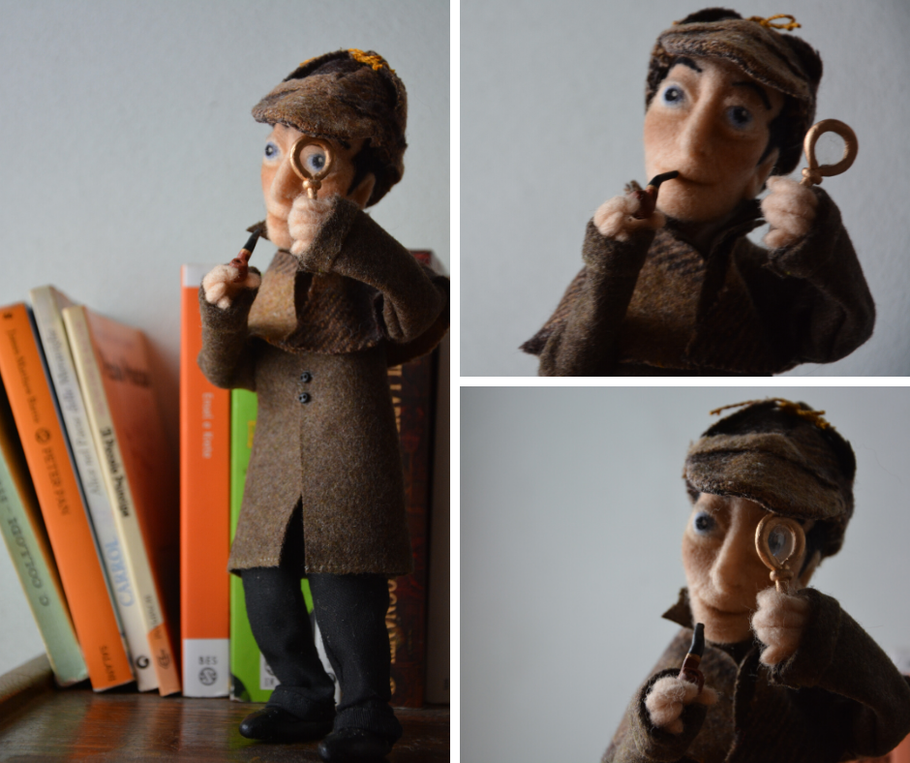 The Sherlock art doll I made, now lives in Israel.