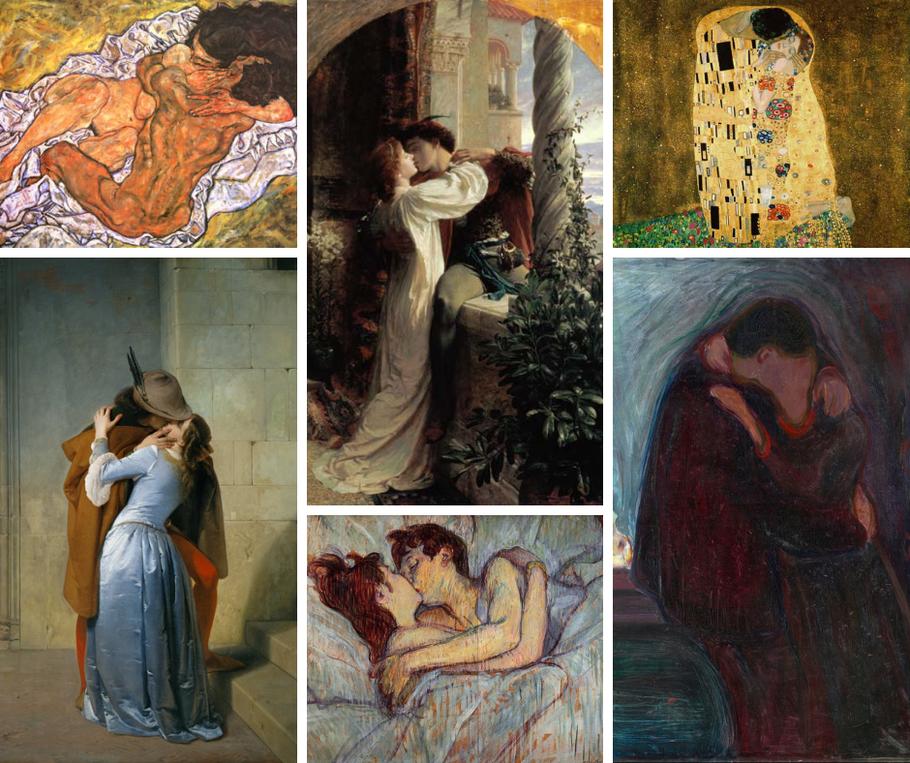 Da sinistra a destra, in senso orario: L'abbraccio di Schiele, Romeo e Giulietta di Sir Frank Dicksee, Il bacio di Gustav Klimt, Il bacio di Edvard Munch, A letto, il bacio di Henri De Toulouse-Lautrec,  Il bacio di Francesco Hayez