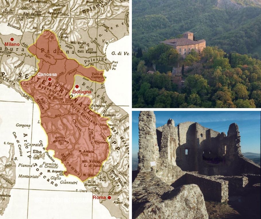 Geographic map of the lands of Matilda, Castello di Bianello, ruins of the Castello di Canossa