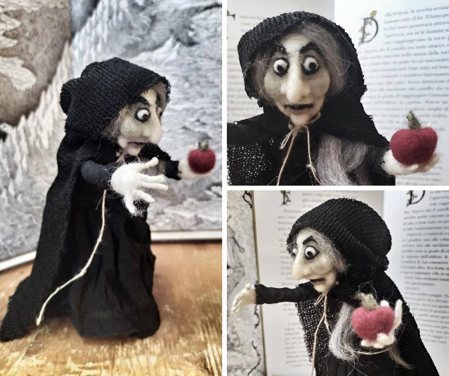 Bambola strega di Biancaneve, è ancora da finire, realizzata in feltro ad ago è alta solo 10 cm, è una commissione.
