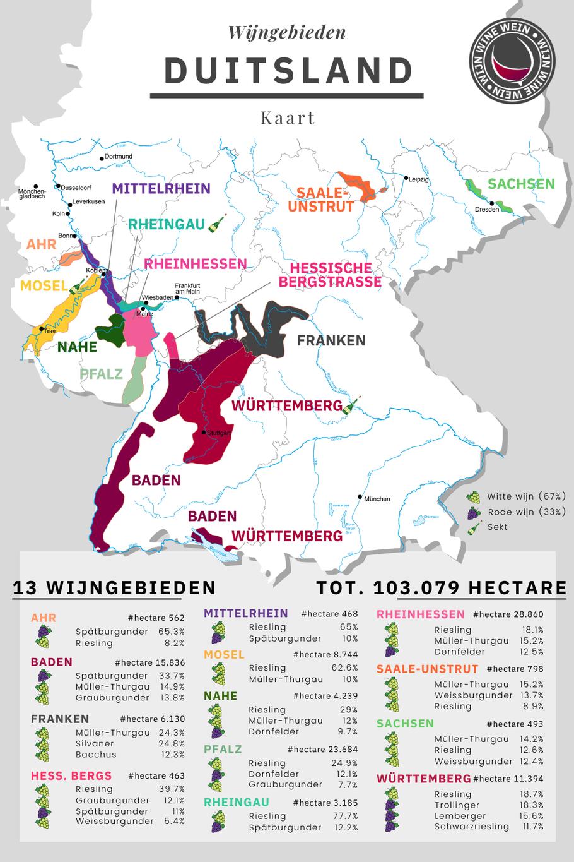 Wijngebieden Duitsland Kaart