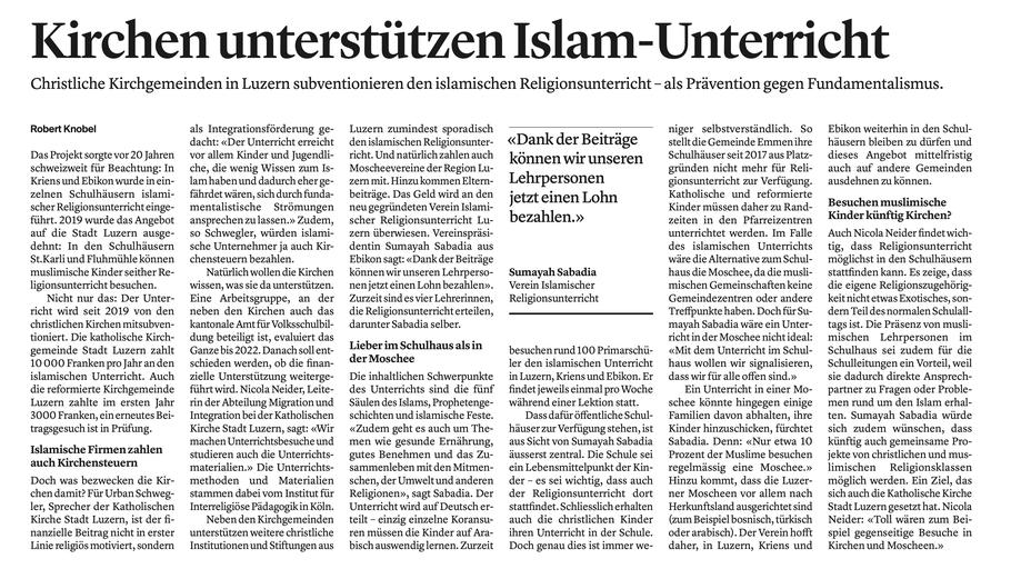 Luzerner Zeitung, 16.01.2021, S.22
