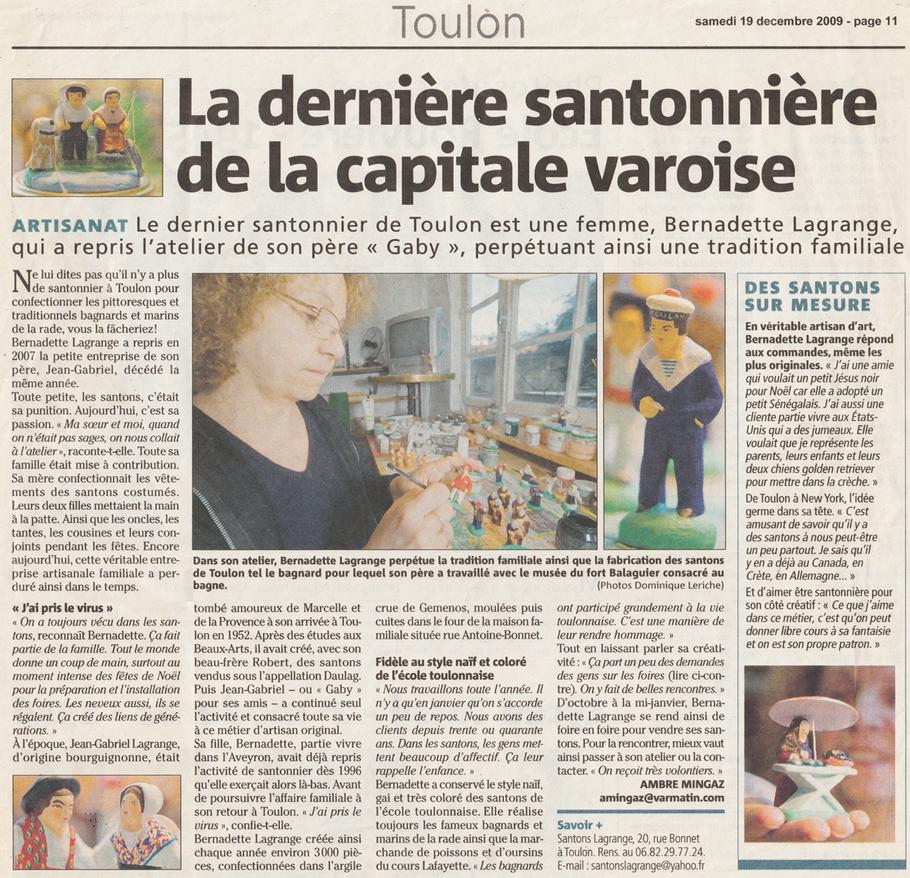 Nice Matin 2009-12-19 La dernière santonnière de la capitale varoise