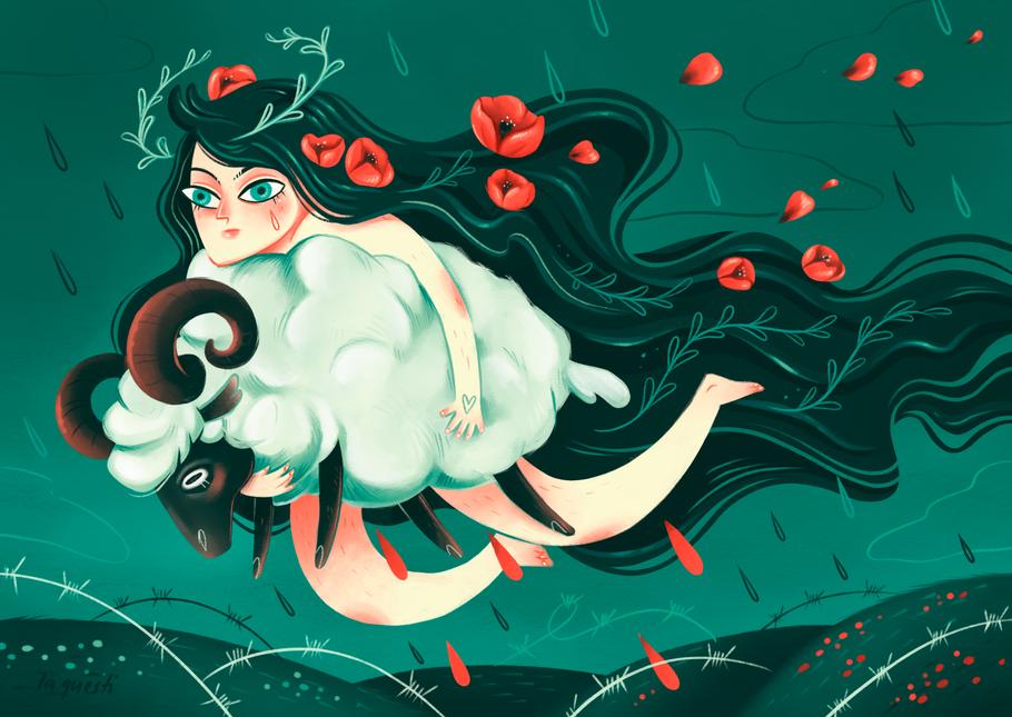Illustration, red hair woman, Woods, Irland, Goddess