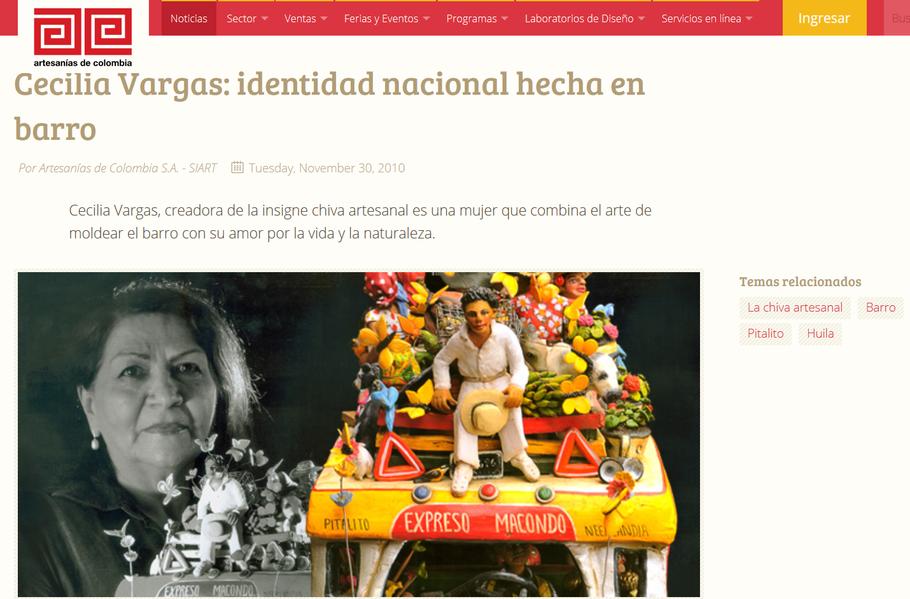 Artesanias de Colombia sobre Cecilia Vargas Muñoz