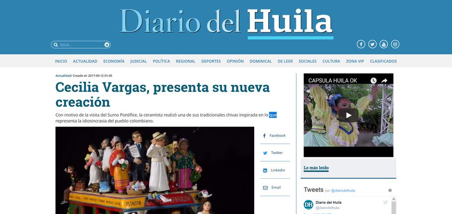 Cecilia Vargas Muñoz en el Diario del Huila