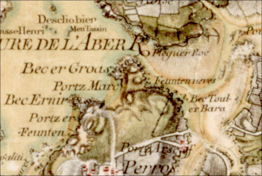 Extrait de la carte des Ingénieurs Géographes du Roi. Fin XVIIIème siècle. La richesse toponymique impressionne et fait preuve d'une véritable recherche tant de l'authenticité du nom que de sa localisation de la part des cartographes.