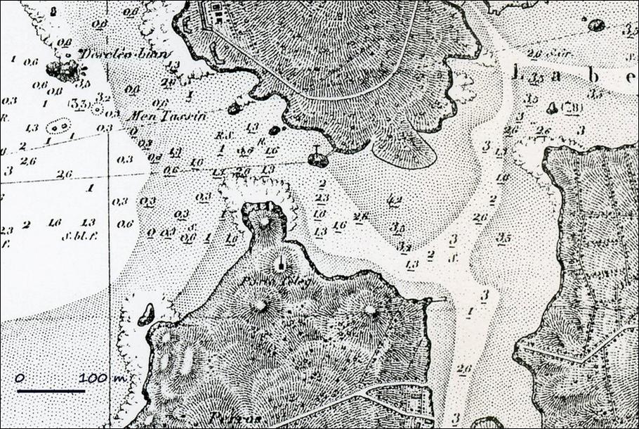 Extrait de la carte 3911 du SHOM, levée en 1816-1817. La toponymie de l'entrée de l'Aber-Ildut y apparaît bien pauvre. Le but recherché est clairement la prévention du danger en fournissant aux navigants des cartes précises.