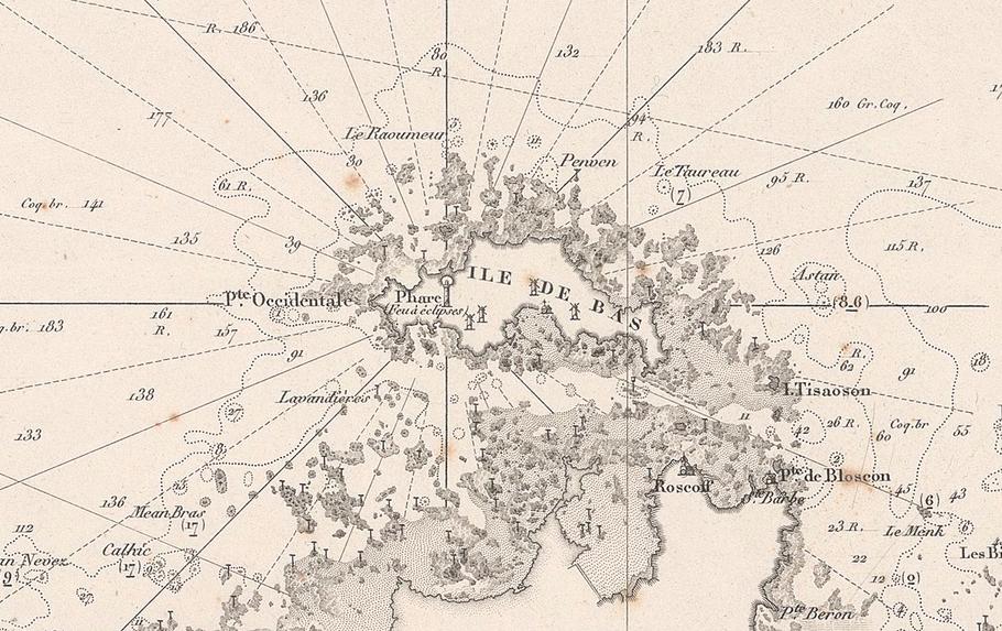 Détail d'une carte générale « de Ouessant à l'île de Bas », 1843 les aires de vents sont tracées centrées sur le phare de l'île de Batz, les amers remarquables apparaissent clairement