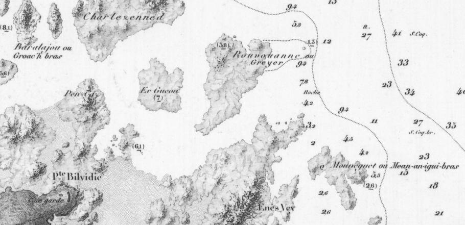 Détail de la carte 975 du Service hydrographique édition de 1887 (archives SHOM)