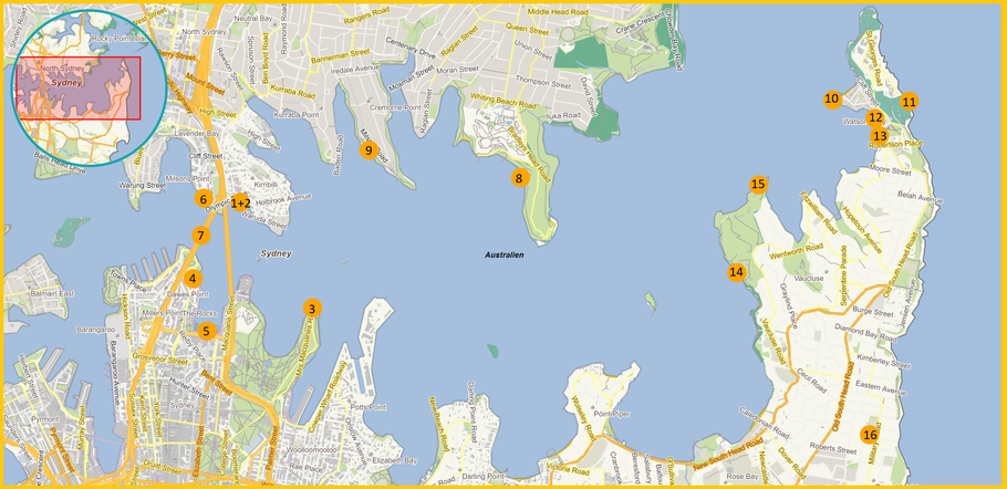 Australia, Australien, Reisebericht Australien, NSW, New South Wales, Sydney, Reisebericht Sydney, Sydney Sunset, Fotospots, Sunset Spots Sydney, Sonnenuntergänge Sydney, Fotografiespots Sydney Map, Sunsetspots Sydney Map, Karte Sonnenuntergänge Sydney