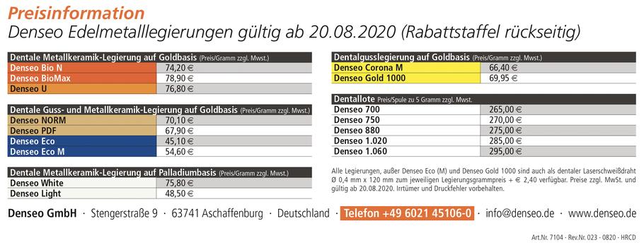 Preisinformation Edelmetalllegierungen
