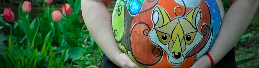 ventre femme enceinte renard belly painting solenn minier