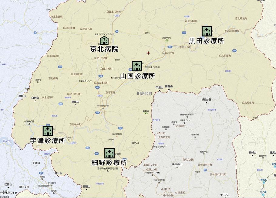 四ヶ所の診療所の場所を示す地図