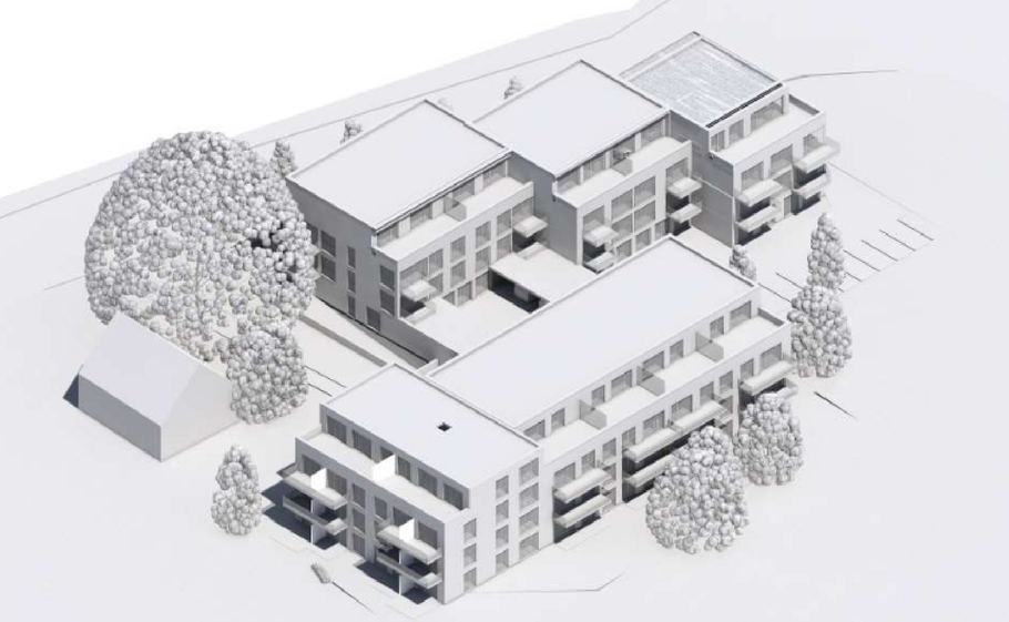 Um das Reetdachhaus (angedeutet links) und die alte Eiche geht es bei der Kritik an der geplanten Bebauung (Grafik aus der Beschlussvorlage)