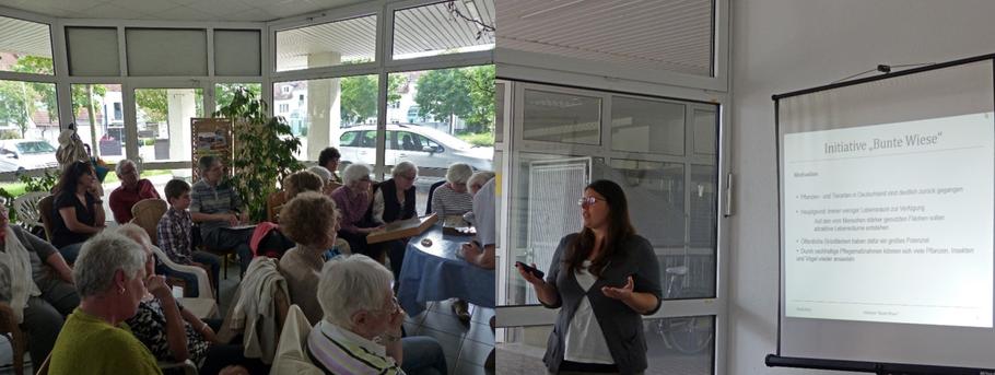 """Tamara Ayoub stellt unsere Initiative auf dem """"Stadteiltreff Herrlesberg"""" vor (Foto: S. Herbst)"""