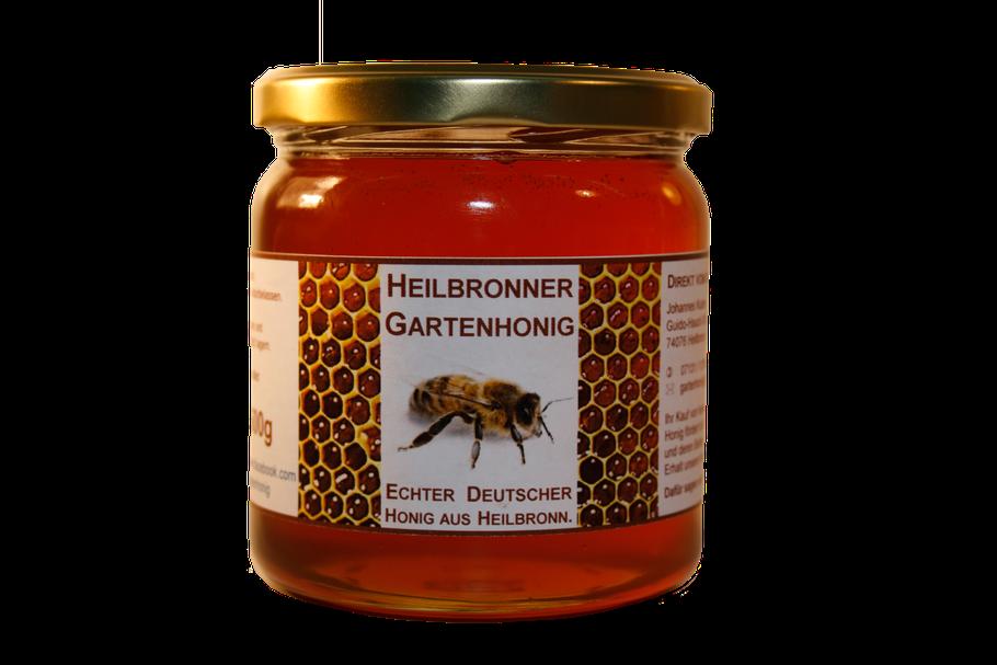 Heilbronner Gartenhonig im etikettierten Glas.