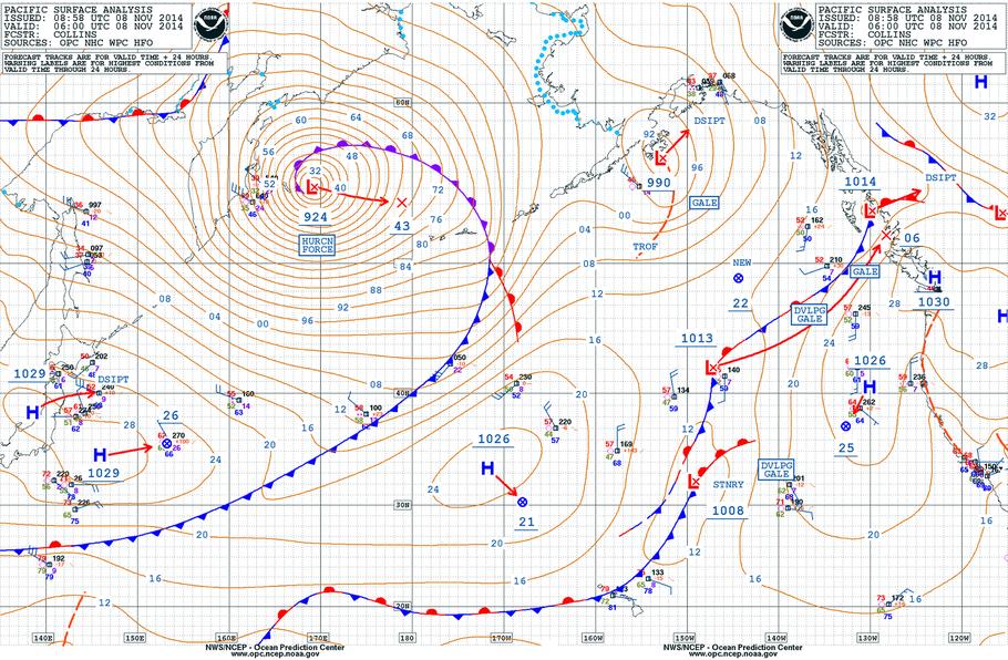 Orkan über dem Beringmeer am 08.11.2014 um 06 UTC. | Source: NWS/NCEP Ocean Prediction Center