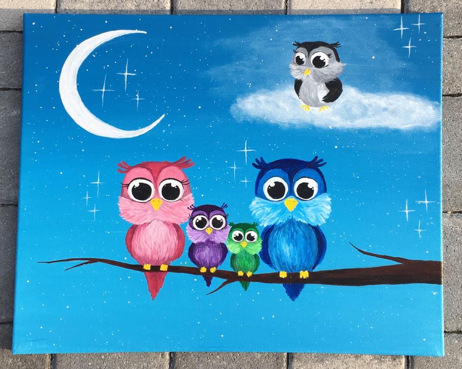 Owl moon heaven cloud malerei cottbus Canvasart acrylmalerei acrylpainting family baby