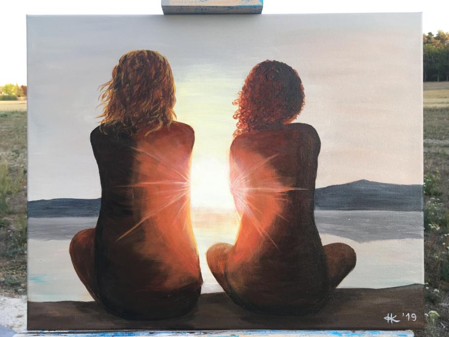 Freundschaft Acrylmalerei acrylpainting canvasart cottbus kunst Malerei Sonnenuntergang