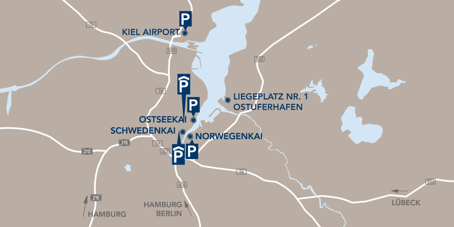 Die Parkmöglichkeiten direkt an den Terminals Quelle: Port of Kiel https://www.portofkiel.com/parken.html