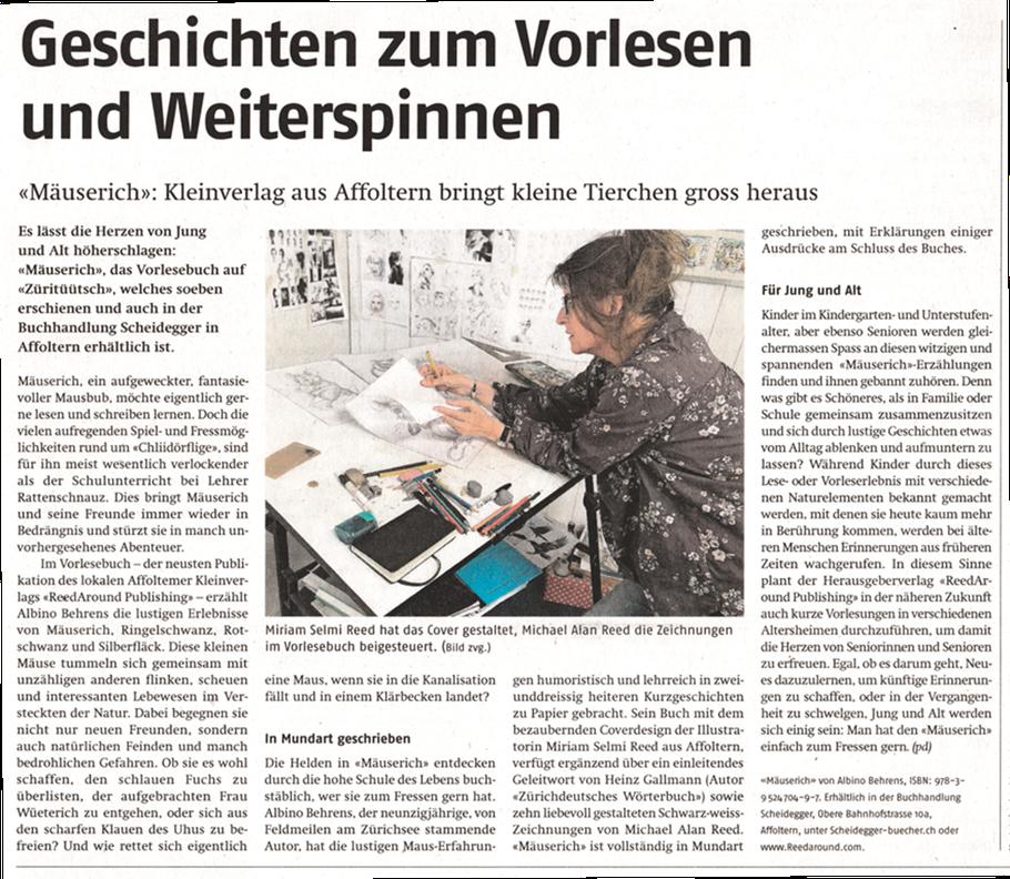 Publiziert im Affoltern Anzeiger,12.Juni 2020 / Published in the Affoltern Anzeiger, 6/12/2020